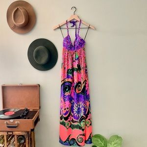VINTAGE 1960's Psychedelic Maxi Dress